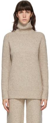 Joseph Beige Tweed Knit Turtleneck