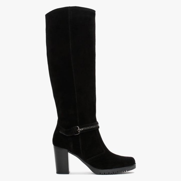 Daniel Leela Black Suede Buckle Strap Knee Boots