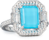 Judith Ripka Avery Emerald-Cut Crystal Cocktail Ring, Turquoise, Size 7