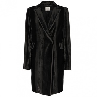CNC Costume National Black Velvet Coat for Women Vintage