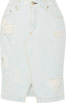Distressed Denim Skirt - ShopStyle