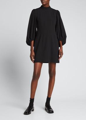 Ganni Heavy Crepe Blouson-Sleeve Dress