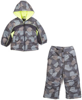 London Fog Gray Geometric Puffer Coat & Snow Pants - Boys