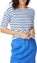 Court & Rowe Court & Rose Stripe Boat Neck Sweater
