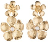 Natori Gold Brass Double Peony Earrings With Pearl
