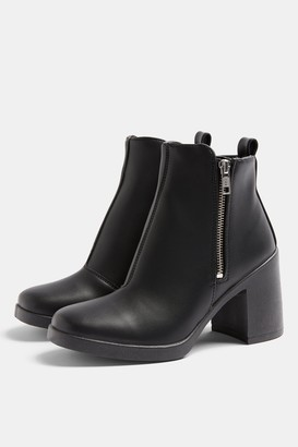 Topshop Womens Bridie Black Unit Boots - Black