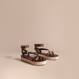 Burberry Two-tone Riveted Leather Espadrille Sandals