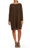 Eileen Fisher Bateau Neck Long Sleeve Merino Wool Dress