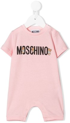MOSCHINO BAMBINO Teddy Bear logo print babygrow