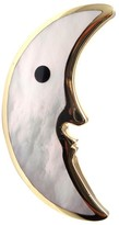 Tiffany & Co. 18K Yellow Gold Mother of Pearl Black Jade Moon Pin Brooch