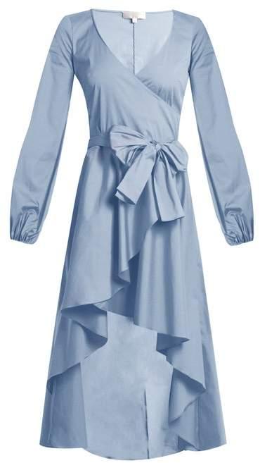 Caroline Constas Lena Asymmetric Hem Cotton Blend Wrap Dress - Womens - Blue