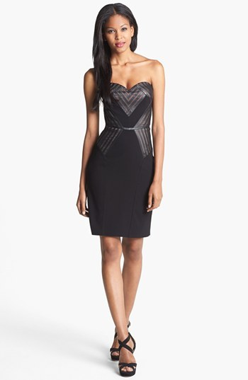 Aidan Mattox Faux Leather Detail Sheath Dress