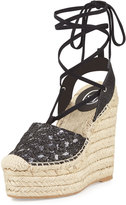 Ash Tessa Lace-Up Espadrille Wedge Sandal, Black/Piombo