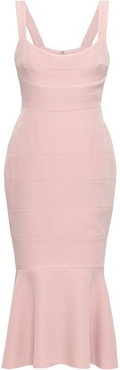 Rachel Gilbert Fluted Stretch-crepe Midi Dress