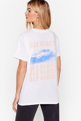 Nasty Gal Womens Bad Habits Relaxed Graphic Tee - White - S