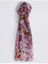 M&S Collection Pure Silk Bird Print Scarf