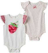 Nannette Baby Girl 2-pk. Strawberry Applique & Polka-Dot Bodysuits