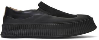 Jil Sander Black Suede Vulcanized Slip-On Sneakers