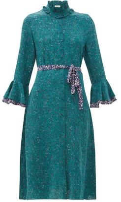 Beulah Maia Floral-print Silk Crepe De Chine Dress - Green Multi