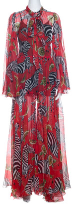 Dolce & Gabbana Red Printed Silk Tie Neck Detail Maxi Dress S