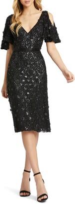 Mac Duggal Cold Shoulder Sequin Sheath Dress
