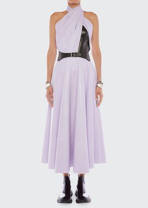 Alexander McQueen Halter-Neck Belted Leather Dress