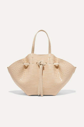 Nanushka Lynne Mini Croc-effect Faux Leather Tote - Cream