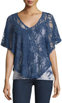 Hazel Lace-Overlay Camisole Top, Blue