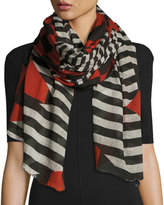 Faliero Sarti Zig Zag Check & Stripe Voile Scarf, Black/Red