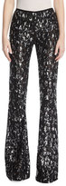 Michael Kors Sequined Leopard Tulle Flare-Leg Pants