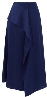 Roland Mouret Falun Asymmetric Hammered Silk-satin Midi Skirt - Navy