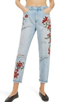 Topshop Petite Women's Fire Flower High Rise Ripped Mom Jeans