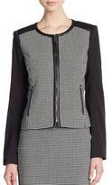 Calvin Klein Polka Dot Blocked-Sleeve Jacket