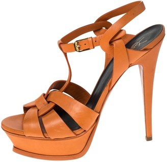Saint Laurent Tribute Orange Leather Sandals