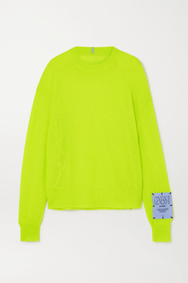 McQ Appliqued Neon Knitted Sweater - Chartreuse