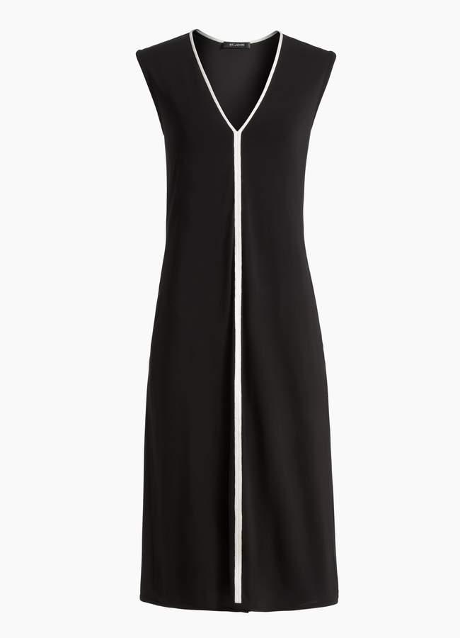 St. John Matte Jersey V-Neck Dress
