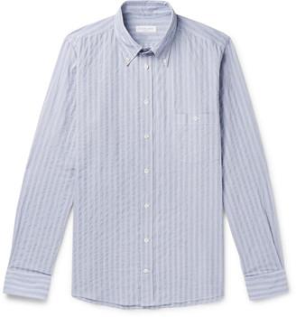 Richard James Button-Down Collar Striped Cotton Shirt