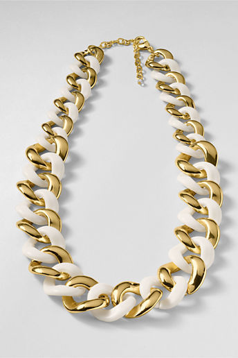 Lands' End Women's Resin and Metal Link Necklace