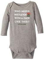 Life is Good Who Needs Mistletoe Long Sleeve Bodysuit (Infant) (Heather Gray) Kid's Jumpsuit & Rompers One Piece