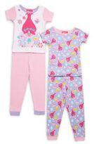 AME Sleepwear Little Girl's Troll Four-Piece Printed Tee & Pants Set