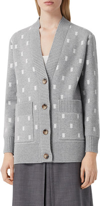 Burberry Palena Monogram Jacquard Wool-Cashmere Cardigan Sweater