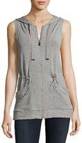 Neiman Marcus Long Hooded Drawstring Vest, Light Gray
