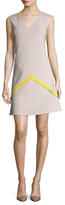 Oscar de la Renta Wool Colorblocked Fit And Flare Dress