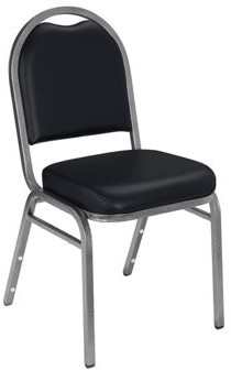 National Public Seating NPS 9200 Series Premium Vinyl Upholstered Padded Stack Chair, Panther Black/Silvervein (2 Pack)