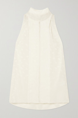 Chloé Tie-detailed Lace-trimmed Pintucked Silk-jacquard Blouse - Off-white