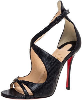 Christian Louboutin Black Lizard Embossed Leather Malefissima Ankle Strap Sandals Size 36.5