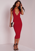 Missguided Jersey Extreme Plunge Band Midi Dress Red