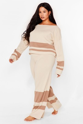 Nasty Gal Womens Colorblock the Haters Plus Lounge Pants Set - Nude