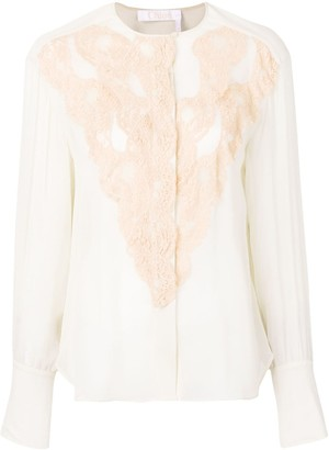 Chloé Lace Detailed Sheer Blouse