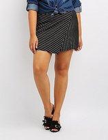 Charlotte Russe Plus Size Pinstripe Asymmetrical Wrap Skort